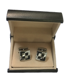 Stainless Steel Black Pattern Square Cufflinks C1-4