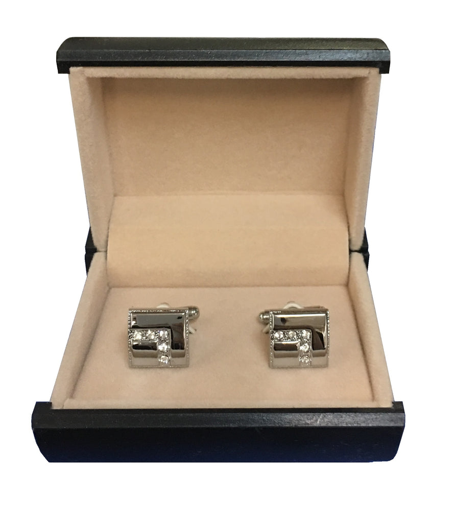 Stainless Steel & Cubic Zirconia 'L' Design Cufflinks C3-52