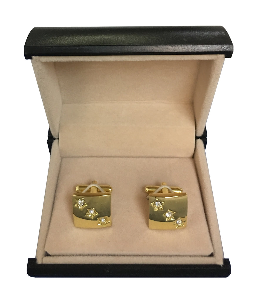Gold Finish Square Cufflinks w/Cubic Zirconia Star Design C3-63