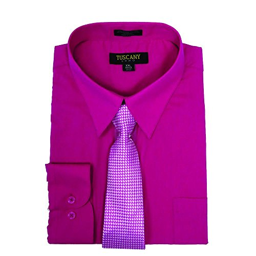 Men's 2-Piece Dress Shirt With Tie Set - Fuchsia Pink