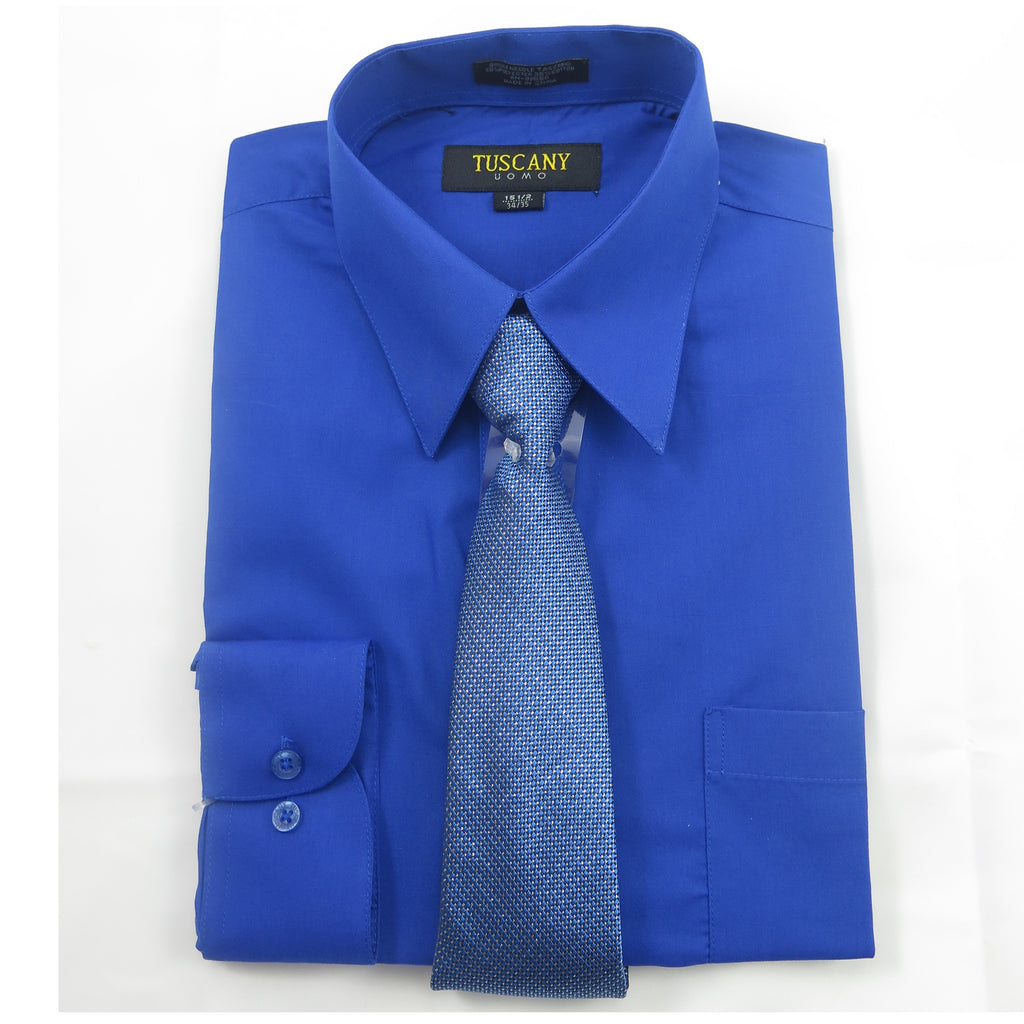 Men's 2-Piece Dress Shirt With Tie Set - Royal Blue