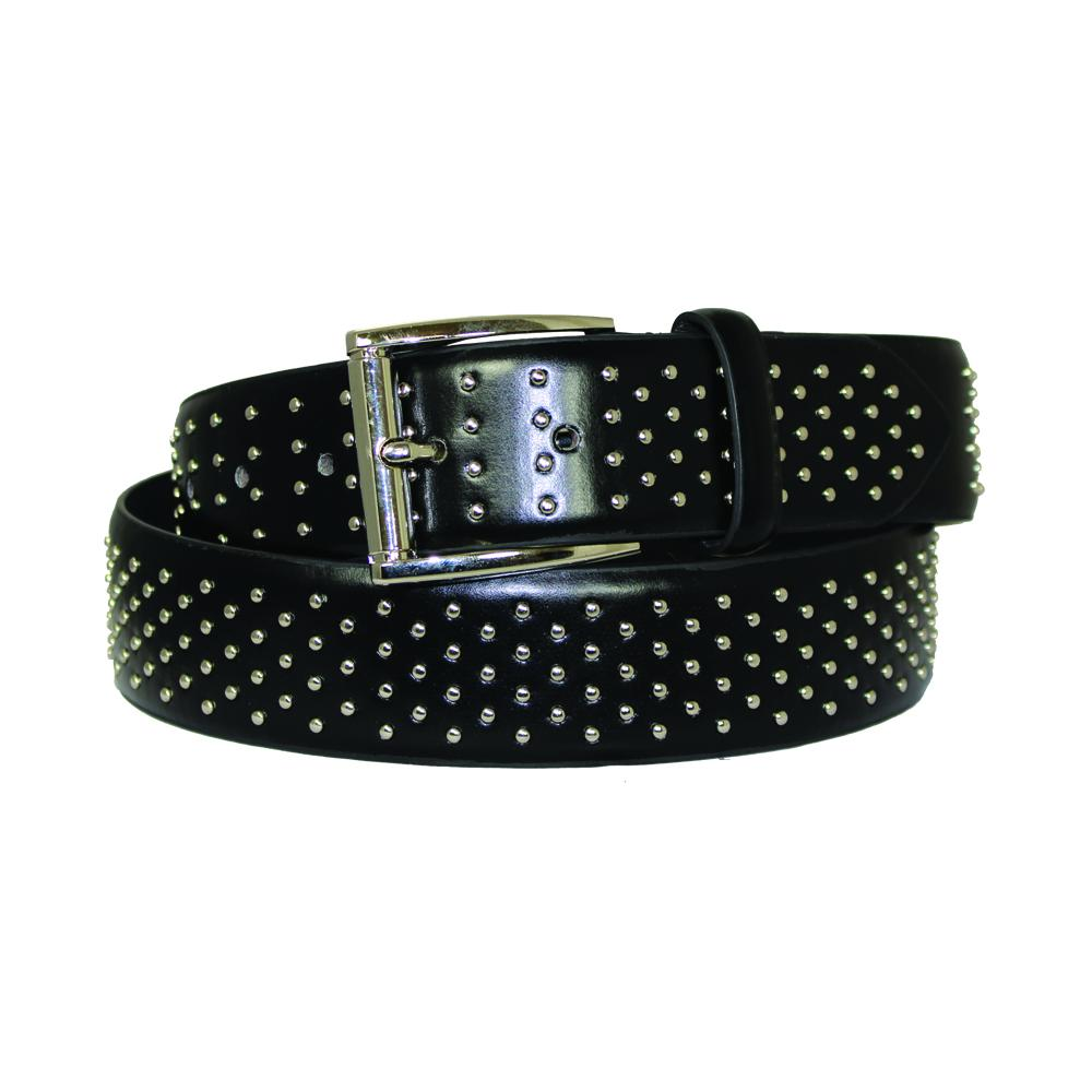 Women's Metallic Studded Black Leather Belt - STD105 - DBABESTDEALS