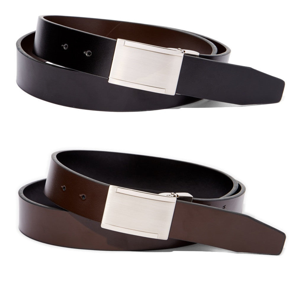 Men's Reversible Metal Frame Leather Belt - UB816