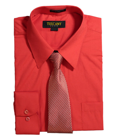 Men's Dress Shirt With Mystery Tie Set - TC102 FUCHSIA