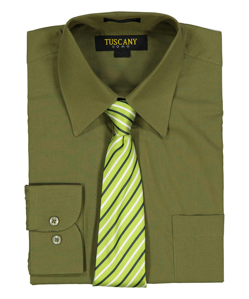 Men's 2-Piece Dress Shirt With Tie Set - Olive