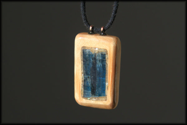 Pendant - Ocean Kayanite in Figured Maple