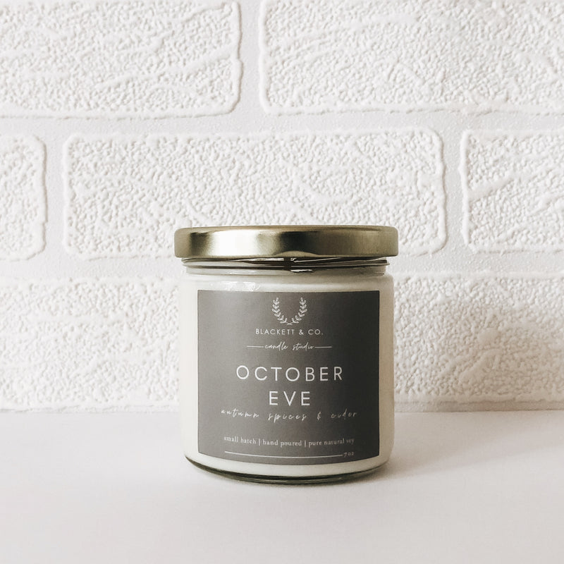 Hand poured October Eve natural soy candle by Blackett & Co.