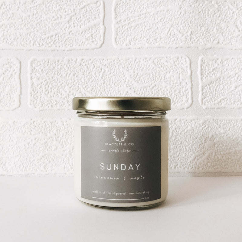 Hand poured Sunday natural soy candle by Blackett & Co.