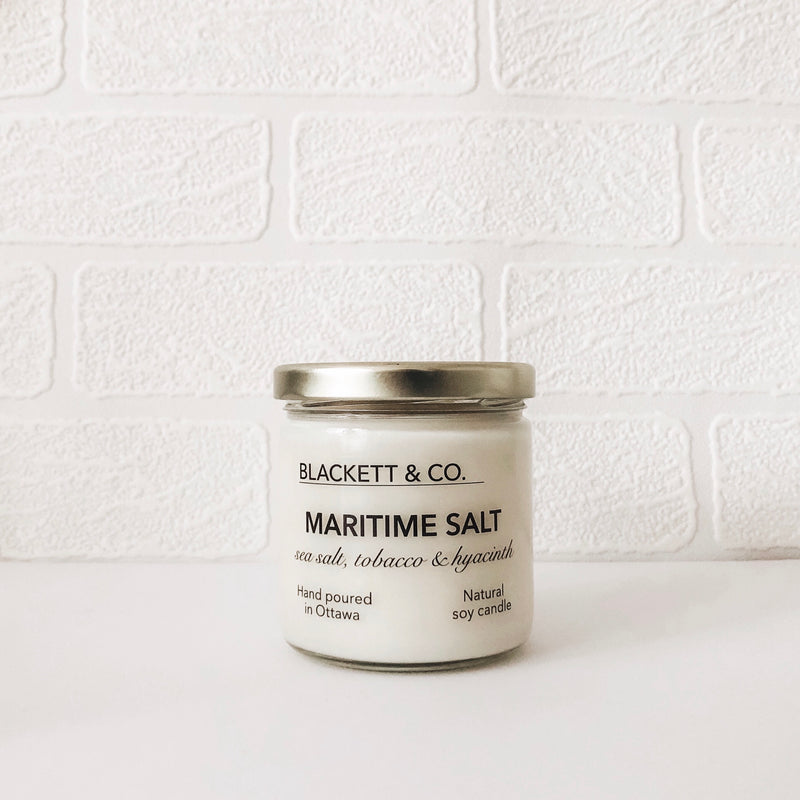 Maritime Salt, scented natural soy wax candle handmade in Ottawa, Ontario, Canada