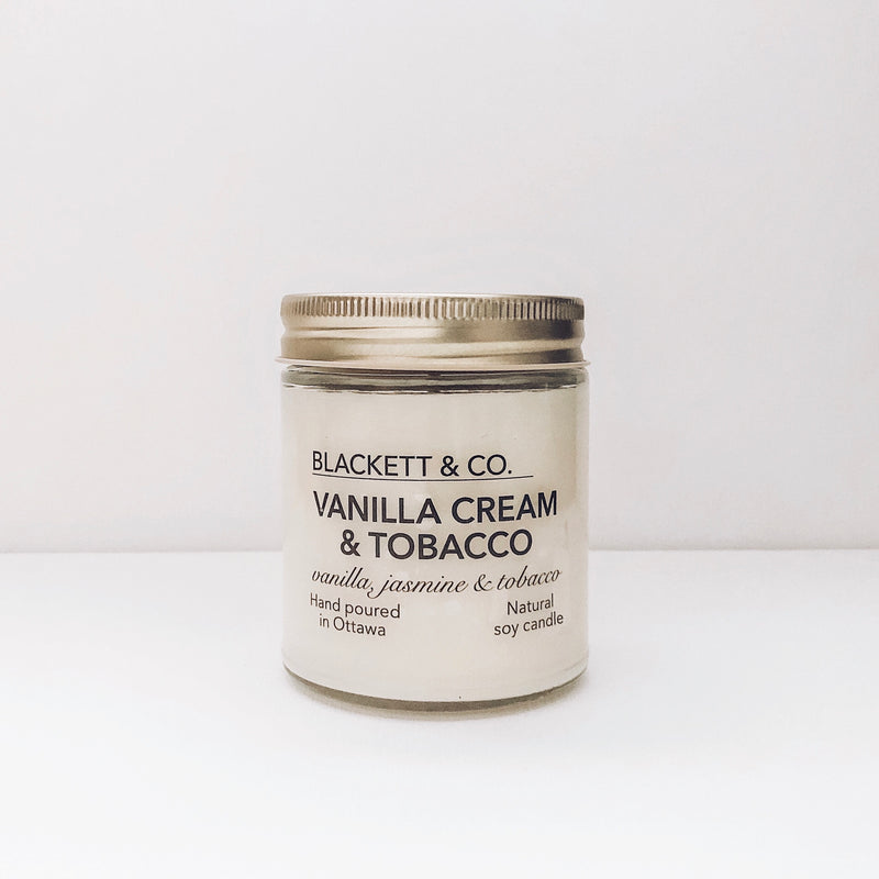 Vanilla Cream & Tobacco, scented natural soy wax candle handmade in Ottawa, Ontario, Canada