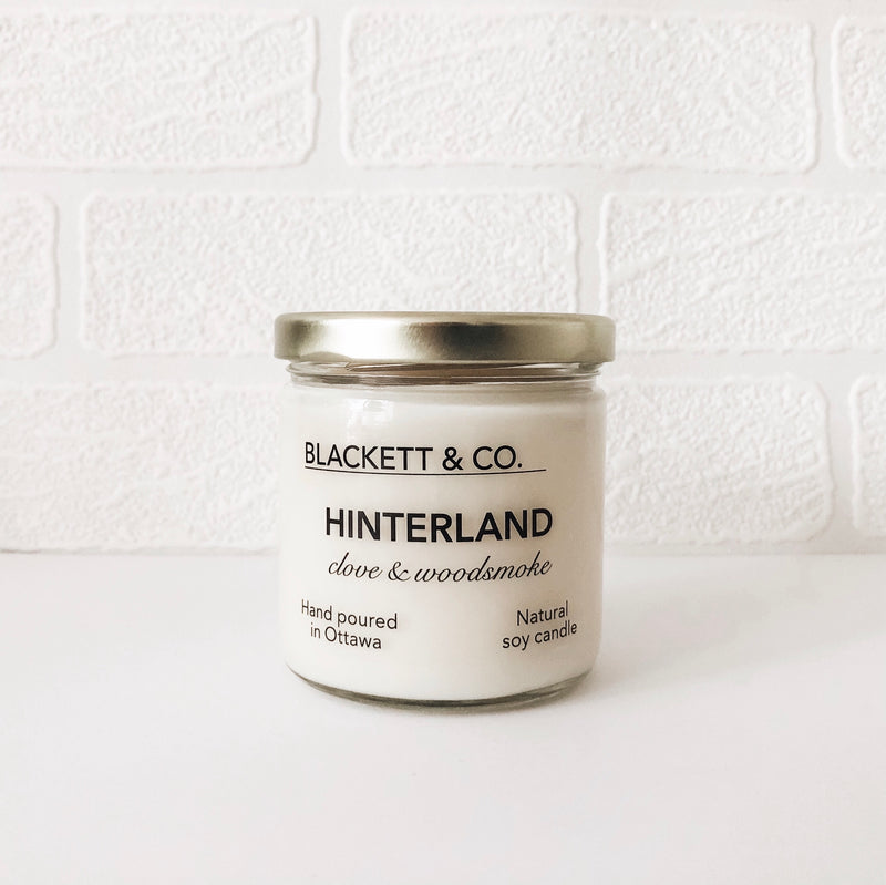 Hinterland, scented natural soy wax candle handmade in Ottawa, Ontario, Canada.