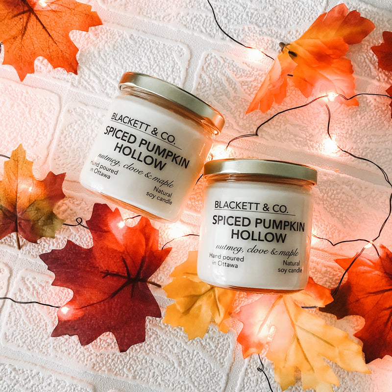 Spiced Pumpkin Hollow, scented natural soy wax candle handmade in Ottawa, Ontario, Canada.