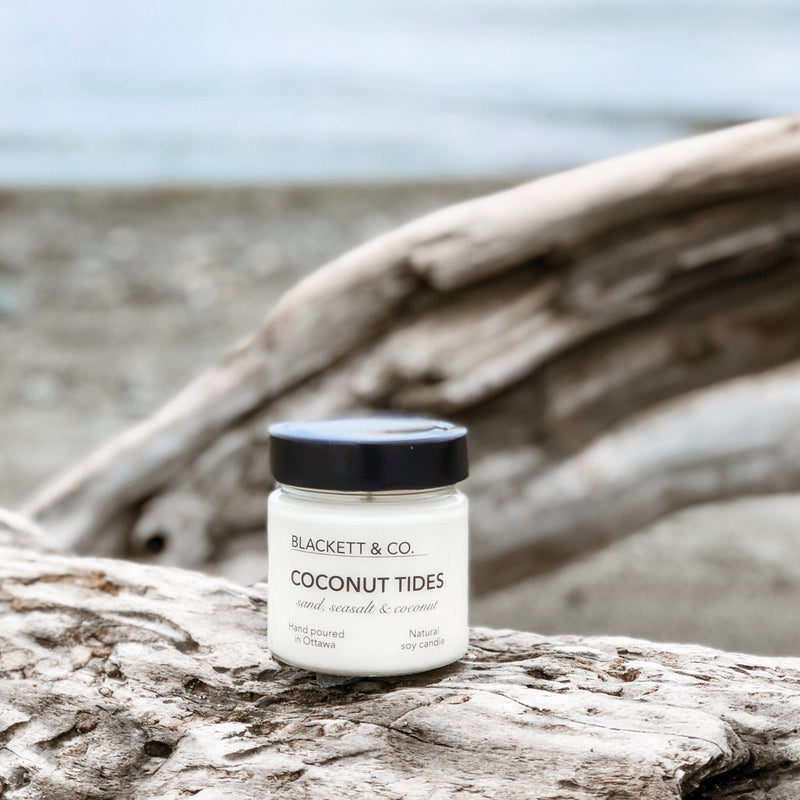 Coconut Tides, scented natural soy wax candle handmade in Ottawa, Ontario, Canada