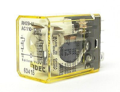 IDEC RH2B-UAC110-120V, 50/60Hz Compact Power Relay (LOT OF 10) - Industrial Sensors & Controls