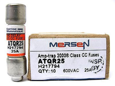 Mersen ATQR25, 600 VAC, 25 Amp, Amp-Trap Time Delay Fuse (LOT of 10) - Industrial Sensors & Controls