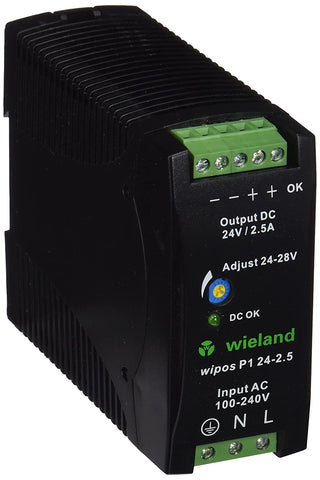 Wieland 81.000.6120.0 Switching Power Supply, 24 VDC, 2.5A