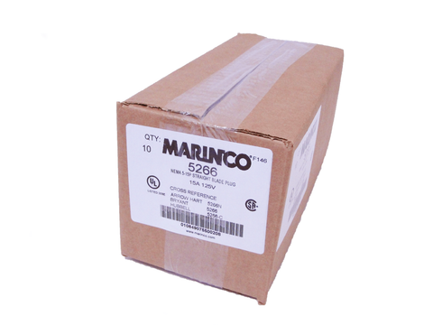 Marinco 5266 Straight Blade Male Plug, 15A, 125V (Box of 10) - Industrial Sensors & Controls