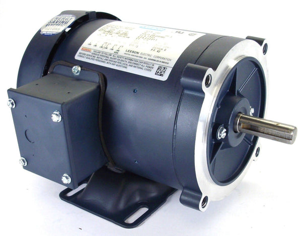 Leeson 116745 AC motor 1hp TEFC 1800 RPM 56c frame w/ base 230/460v MADE IN USA - Industrial Sensors & Controls