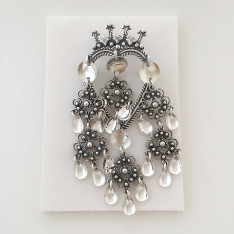 Oxidized Crown Brooch