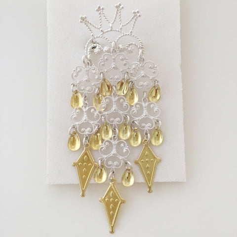Large White Crown Brooch