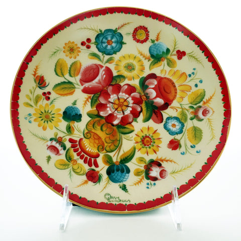 Red Rosemaling Plate