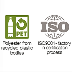 recycled polyester from plastic PET symbol and ISO9001 certification symbol
