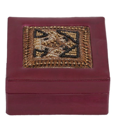Ari Bead Leather Jewellery Box - Plum - Issara Fairtrade