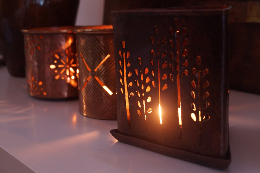 Copper Tea Light Snowflake Design - Issara Fairtrade