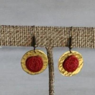 Sun Earrings Brass and Sisal - Issara Fairtrade