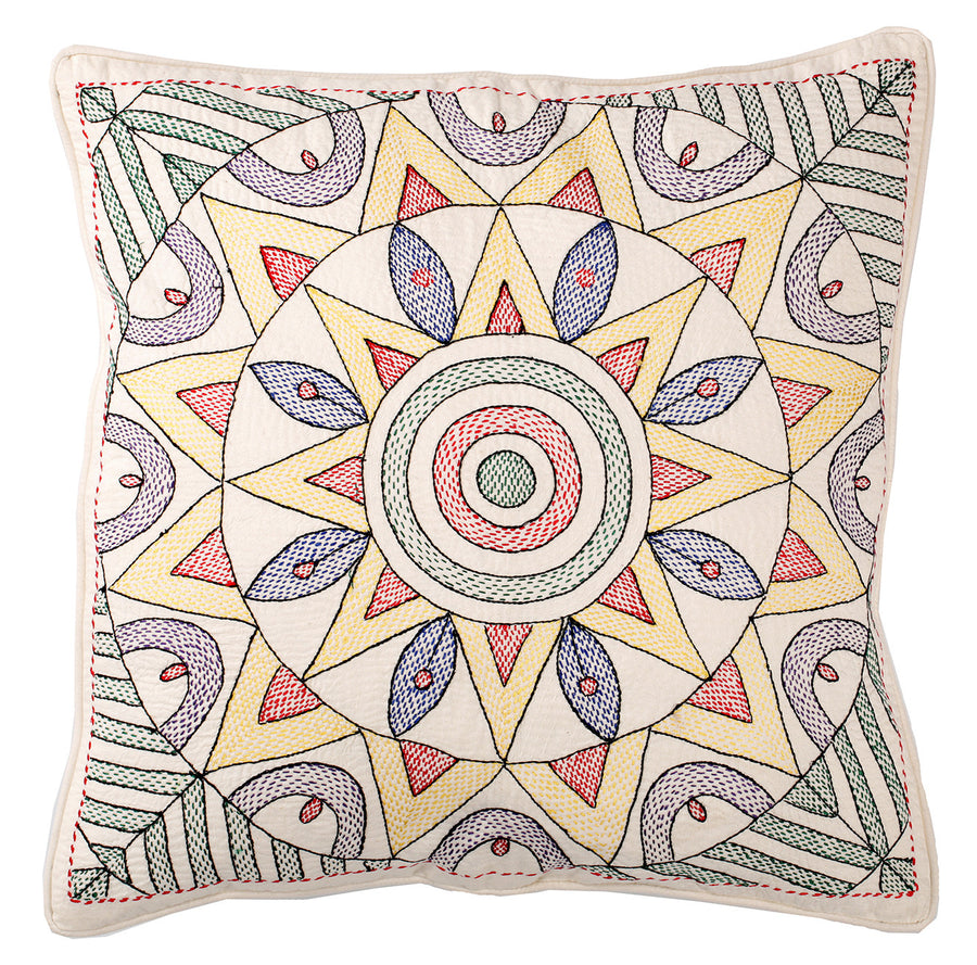 Eco Cushion Embroidered Star Pattern