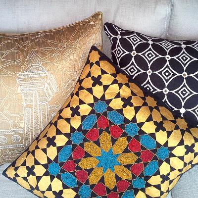 Embroidered and Gold Print Eco Cushion - Issara Fairtrade