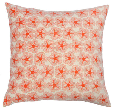 Orange Poppy Kantha Eco Cushion - Issara Fairtrade