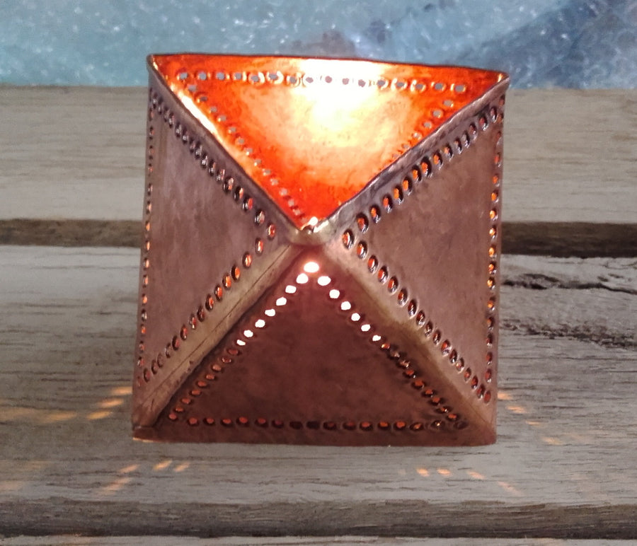 Fair Trade Copper T Light Pyramid Design - Issara Fairtrade