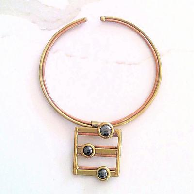 Gold, Copper and Black Obsidian Gem Square Pendant Choker - Issara Fairtrade