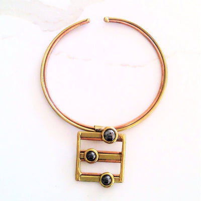 Brass and Copper Black Obsidian Gem Square Pendant Choker - Issara Fairtrade