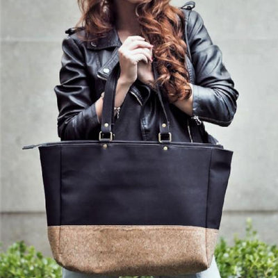 Vegan Faux Leather and Natural Cork Ethical Large Fashion Tote. - Issara Fairtrade