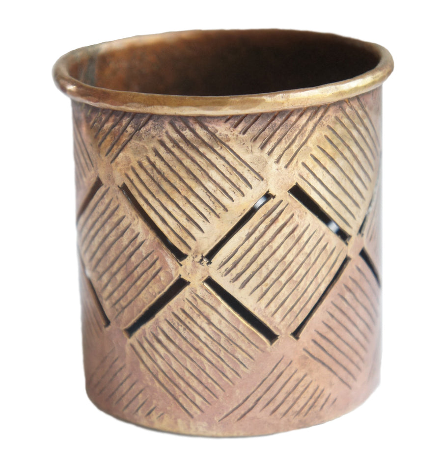 Copper Tea Light Weave Design - Issara Fairtrade