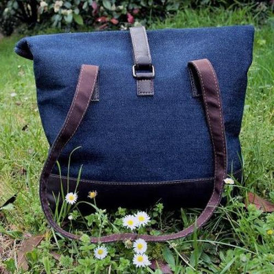 Eco Leather and Indigo Denim Large Tote - Issara Fairtrade