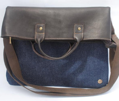 Eco Leather and Indigo Fold Over Tote - Issara Fairtrade