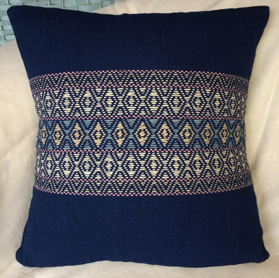 Indigo Hand Woven Eco Cushion - Issara Fairtrade