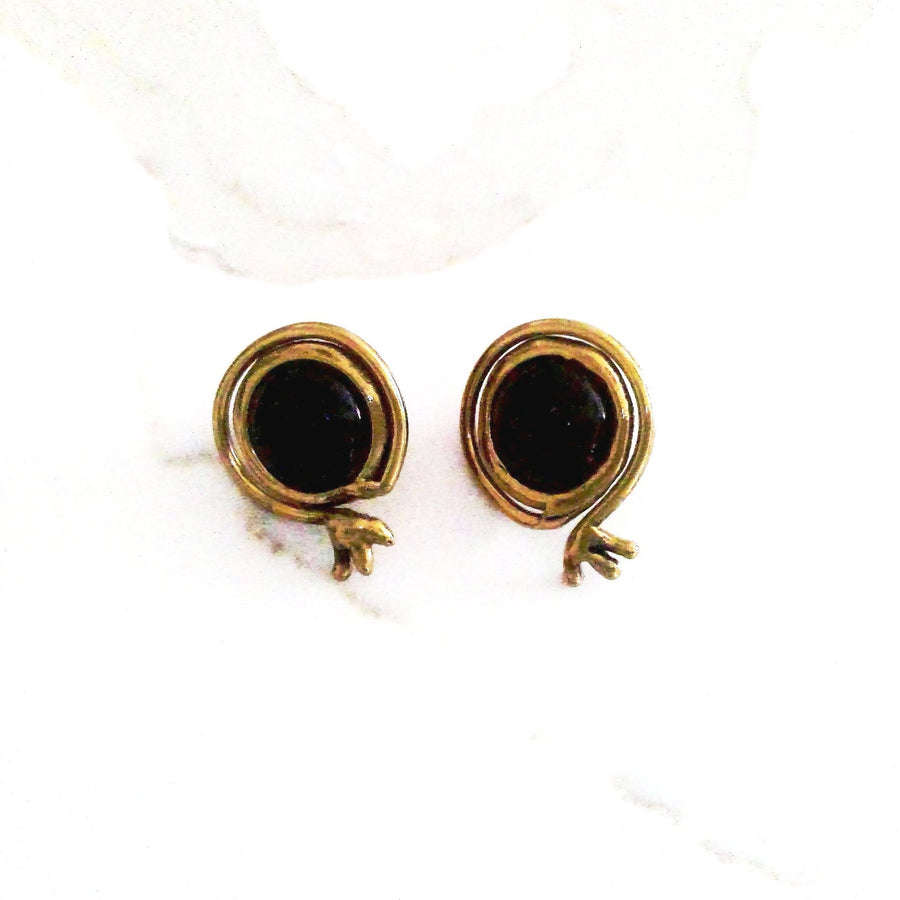 Black Obsidian and Brass Stud Earrings - Issara Fairtrade