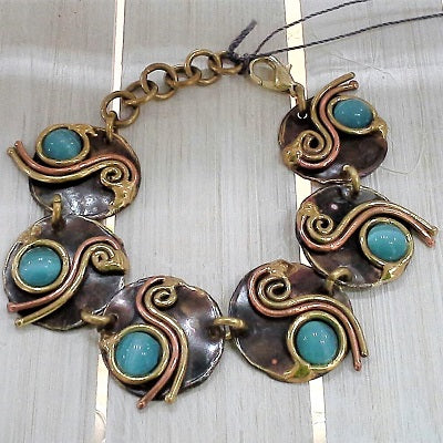 Paua Shell Gem Copper Bracelet - Issara Fairtrade