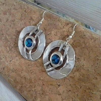 Silver and Paua Shell Gem Round Earrings - Issara Fairtrade
