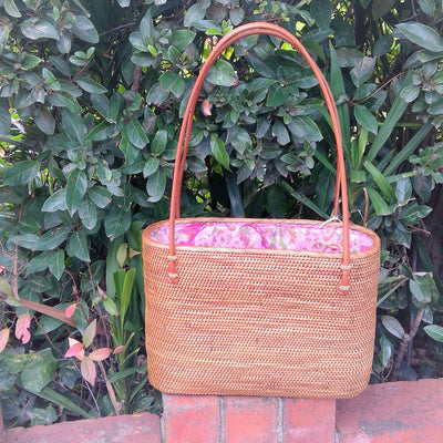Ata Grass Handwoven Oval Tote Large - Issara Fairtrade