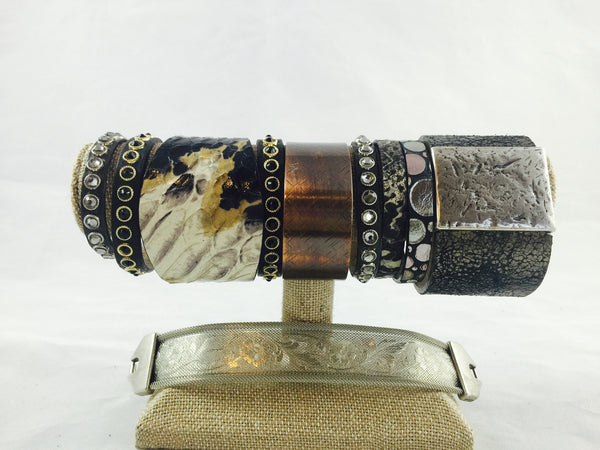 Grey Snake Embossed Leather Bracelet (S/M) - Antler Road