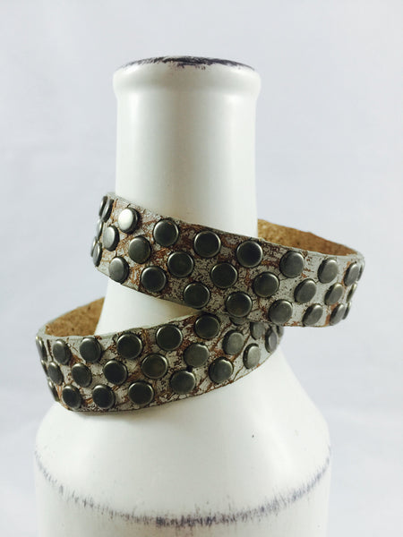 Flat Silver Studded Leather Bracelet (S/M) - Antler Road