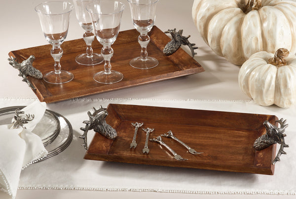 "Wooden Tray with Reindeer Handle 21"" - Antler Road"