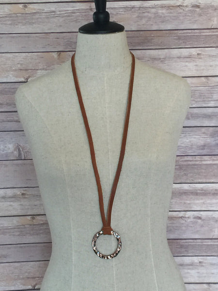 Rustic Copper Circle Pendant on Brown Leather - Antler Road