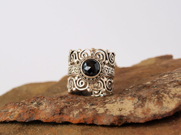Black Spinel Ring Sterling Silver - Antler Road