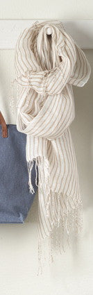 Beige Striped Scarf - Antler Road